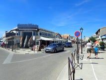 Rue Léon Gambetta, Saintes-Maries-de-la-Mer, France. Rue Léon Gambetta street in Saintes-Maries-de-la-Mer. Saintes-Maries-de-la-Mer is the capital of the royalty free stock photography