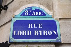 Rue Lord Byron Stock Images