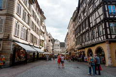 Rue Mercière. Tourists and locals on Rue Mercière by the Strasbourg cathedral, Alsace, France Stock Photography