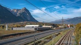 Rue Mountain View de voie de chemin de fer photos stock