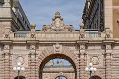 Rue nationale de Riksgatan, Gamla stan, Stockholm, Suède Photographie stock
