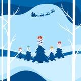 Rue neigeuse de paysage de ville d'hiver et vacances d'hiver Vol du père noël avec le traîneau de renne au-dessus de la forêt ave illustration de vecteur