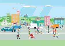 Rue passante dans une ville colorée illustration de vecteur