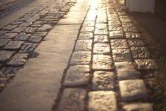 Rue pavée en cailloutis Image libre de droits