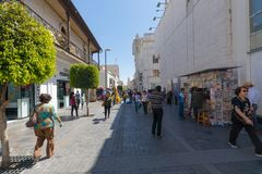 Rue piétonnière Arequipa Pérou de Mercaderes photo stock