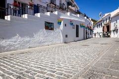Rue pittoresque de Mijas avec des pots de fleur dans les façades Andalus Photos libres de droits