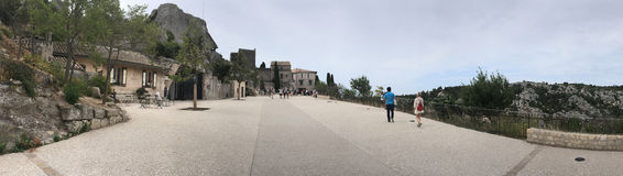 Rue Porte Mage panorama, Les Baux-de-Provence, France Royalty Free Stock Photography