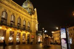 Rue Prague la nuit Image stock