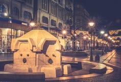 Rue principale dans l'effet de brume de Belgrade Photographie stock