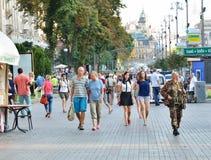 Rue principale en capitale ukrainienne Photographie stock libre de droits