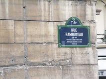 Rue Rambuteau street sign Royalty Free Stock Photography