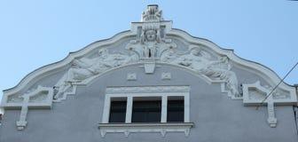 Rue Riga Lettonie de Lacplesa 18 de fragment de façade de bâtiment d'Art Nouveau photos libres de droits