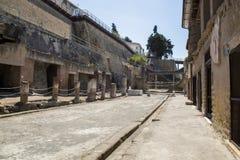 Rue romaine antique de l'Italie de Campanie de rue de Herculanum photos libres de droits