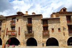 Rue romane médiévale Espagne de village d'Ainsa Image libre de droits