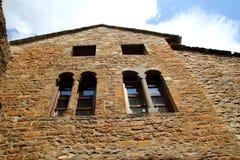 Rue romane médiévale Espagne de village d'Ainsa Photo stock