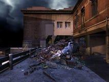 Rue ruinée la nuit illustration libre de droits