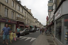 Rue Saint-Martin in Bayeux, France. Rue Saint-Martin street in Bayeux. Bayeux is a commune in the Calvados department in Normandy in northwestern France Stock Image