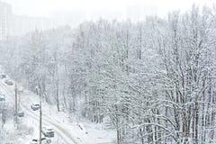 Rue Snow-covered Vue de ci-avant Images libres de droits