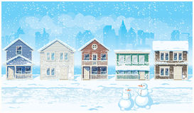 Rue suburbaine en hiver Photos libres de droits