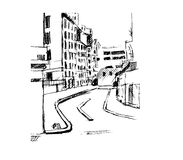 Rue sur la ville, illustration Images stock