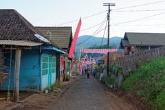 Rue typique d'un village de javanese Photographie stock