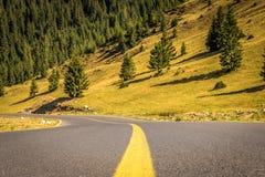 Rueda abajo del camino en Transalpina imagenes de archivo