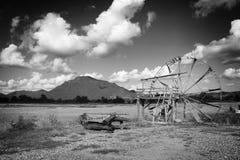 Rueda de agua hecha de bambú en el provin del distrito LOEI de CHIANG KHAN Imágenes de archivo libres de regalías