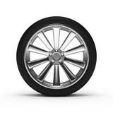 Rueda de aluminio con los neumáticos Fotografía de archivo libre de regalías