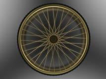 Rueda de bicicleta de oro Imágenes de archivo libres de regalías