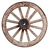 Rueda de carro de madera vieja en el fondo blanco Imagen de archivo