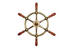 Rueda de cobre amarillo aislada de la nave Imágenes de archivo libres de regalías