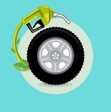 Rueda de coche con el surtidor de gasolina; vec plano del diseño del concepto verde de la energía Imágenes de archivo libres de regalías