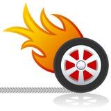 Rueda de coche con insignia de las llamas ilustración del vector
