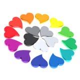Rueda de color de los corazones 3d Fotografía de archivo libre de regalías