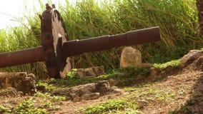 Rueda de engranaje antigua que se sienta al lado del acueducto del siglo XVIII Montego Bay, Jamaica almacen de metraje de vídeo