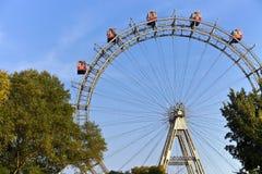 Rueda de Ferris histórica del parque del prater de Viena fotos de archivo libres de regalías
