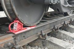 Rueda de freno en el ferrocarril del tren Foto de archivo libre de regalías