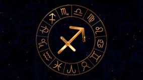 Rueda de oro del spinnig del hor?scopo del zodiaco con la muestra de Archer del sagitario en el centro stock de ilustración