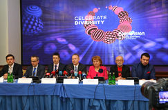 Rueda de prensa 2017 de la competencia de canción de la Eurovisión en Kyiv Fotografía de archivo