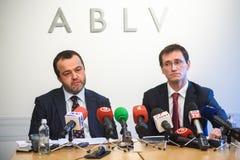 Rueda de prensa en el banco de ABLV Fotos de archivo libres de regalías