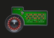 Rueda de ruleta del casino con los microprocesadores en la tabla verde libre illustration