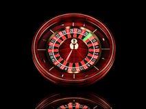 Rueda de ruleta del casino en fondo negro 3D que rinde el ejemplo realista Concepto de juego de la ruleta en línea del casino imagen de archivo