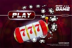 Rueda de ruleta del fondo del casino con jugar microprocesadores Diseño de concepto en línea de la tabla del póker del casino Máq libre illustration