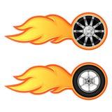 Rueda del coche y de la motocicleta con la llama ilustración del vector
