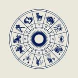 Rueda del horóscopo de las muestras del zodiaco Imagen de archivo libre de regalías