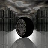 Rueda del neumático de coche con la reflexión ilustración del vector