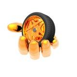 Rueda del neumático de coche en la mano Imagen de archivo
