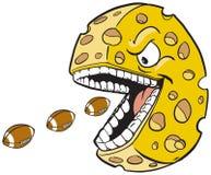 Rueda del queso con fútboles de la consumición de la cara y de la boca Imagenes de archivo