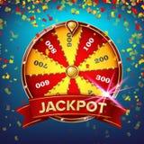 Rueda del vector del cartel de la fortuna Ocio de la ocasión del juego Objeto realista 3d Folleto del diseño de la lotería Ilustr stock de ilustración