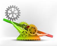 Rueda dentada industrial en zona verde en vector del concepto de la máquina del oscilación libre illustration